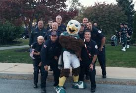 Downingtown and Sadsburyville Firefighters with Eagles mascot 'Swoop'